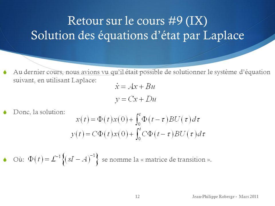 Retour sur le cours #9 (IX) Solution des équations d'état par Laplace