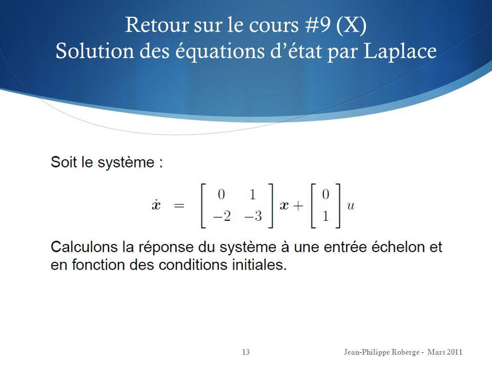 Retour sur le cours #9 (X) Solution des équations d'état par Laplace