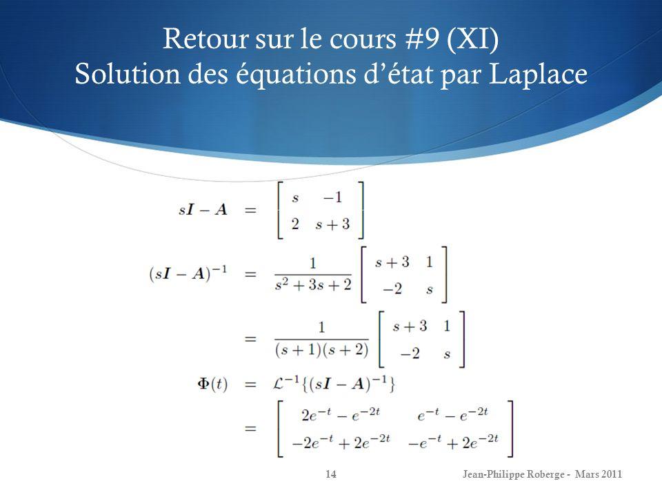 Retour sur le cours #9 (XI) Solution des équations d'état par Laplace