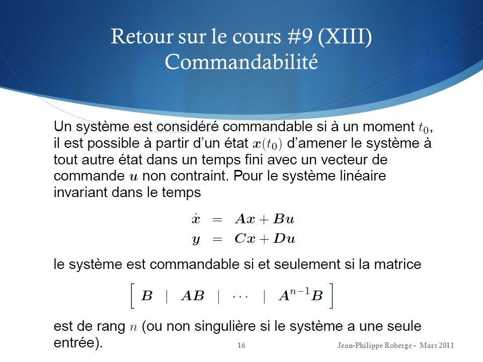 Retour sur le cours #9 (XIII) Commandabilité