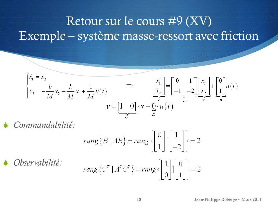 Retour sur le cours #9 (XV) Exemple – système masse-ressort avec friction