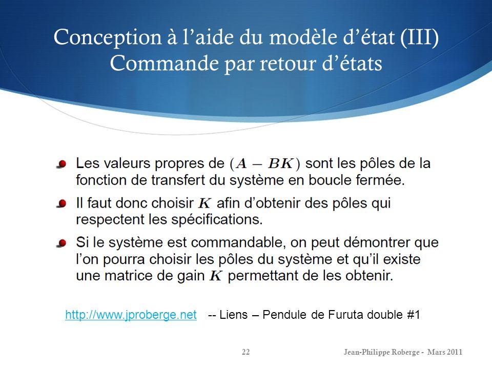Conception à l'aide du modèle d'état (III) Commande par retour d'états