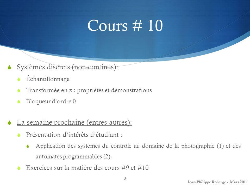 Cours # 10 Systèmes discrets (non-continus):