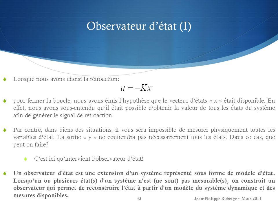 Observateur d'état (I)