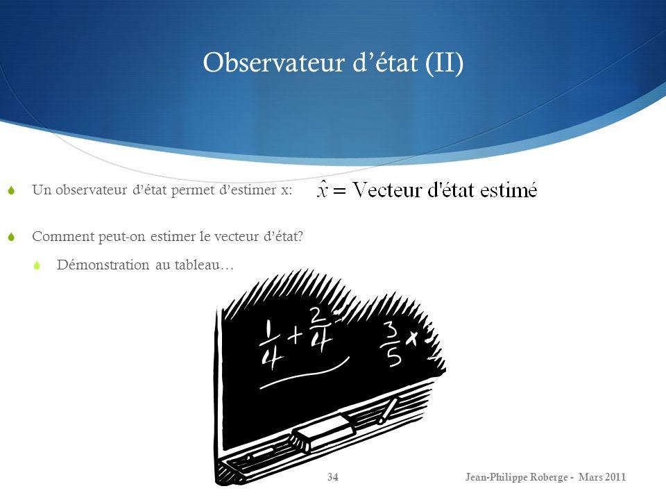 Observateur d'état (II)