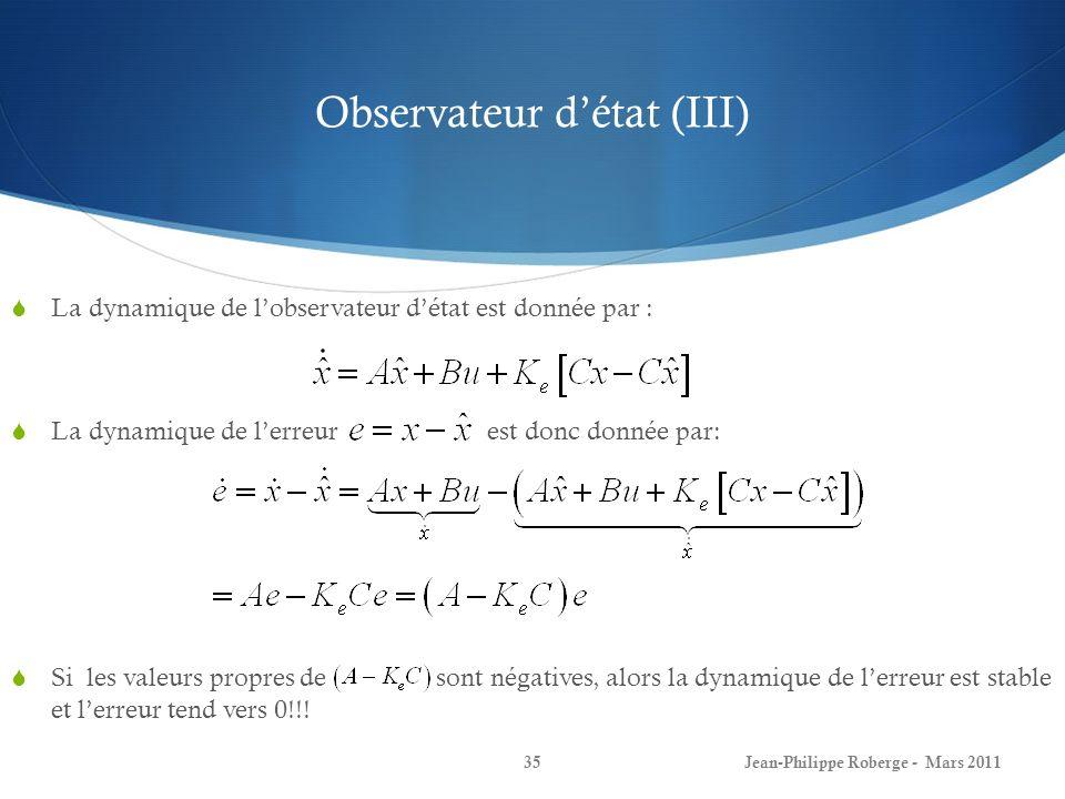 Observateur d'état (III)