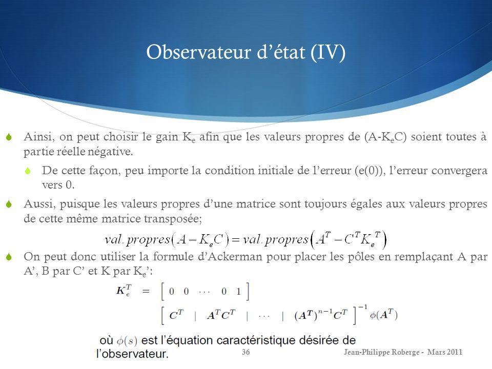 Observateur d'état (IV)