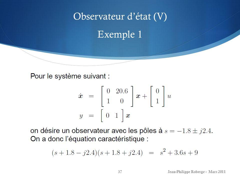 Observateur d'état (V) Exemple 1