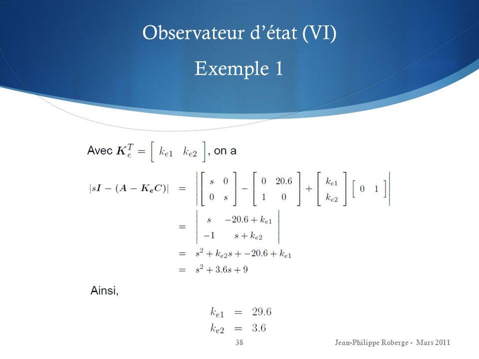 Observateur d'état (VI) Exemple 1