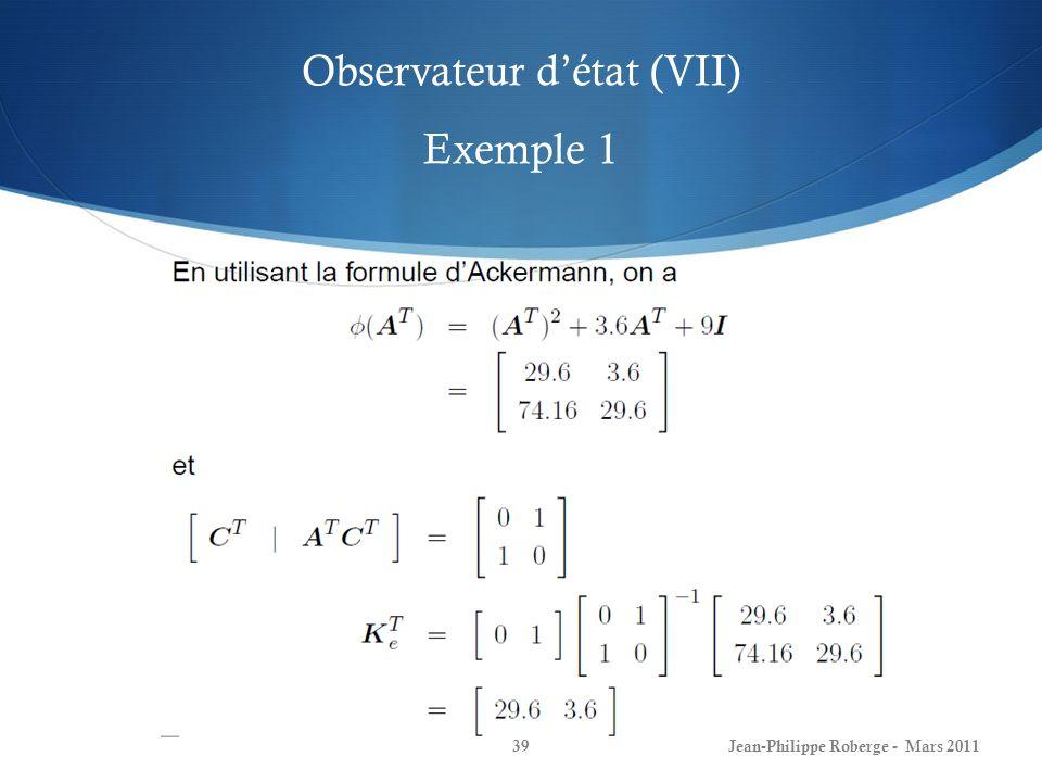 Observateur d'état (VII) Exemple 1