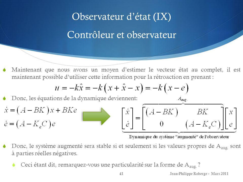 Observateur d'état (IX) Contrôleur et observateur