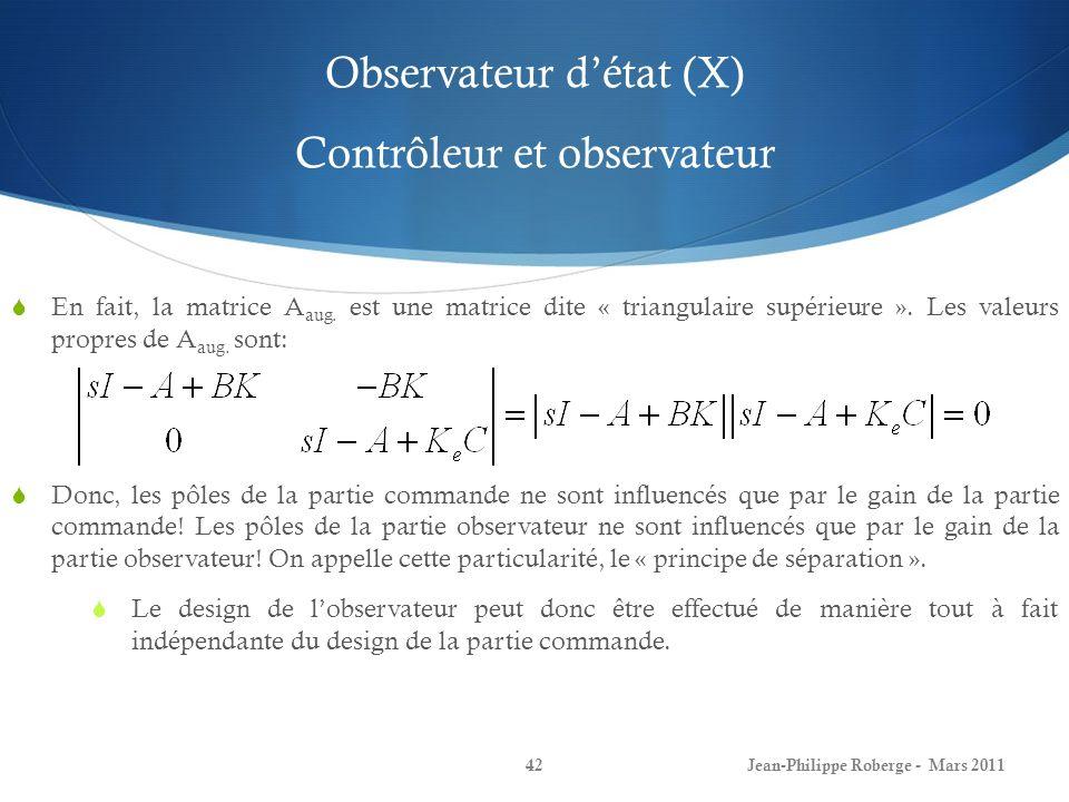 Observateur d'état (X) Contrôleur et observateur