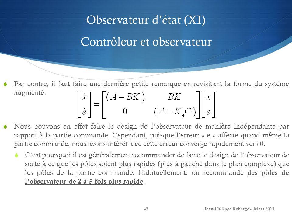 Observateur d'état (XI) Contrôleur et observateur