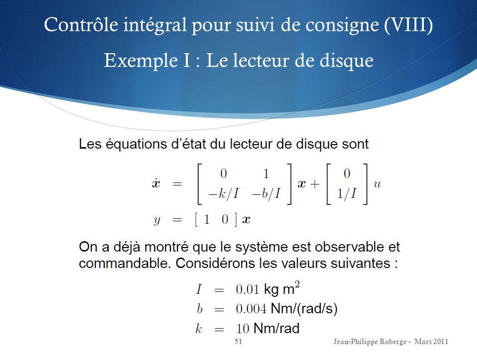 Contrôle intégral pour suivi de consigne (VIII) Exemple I : Le lecteur de disque