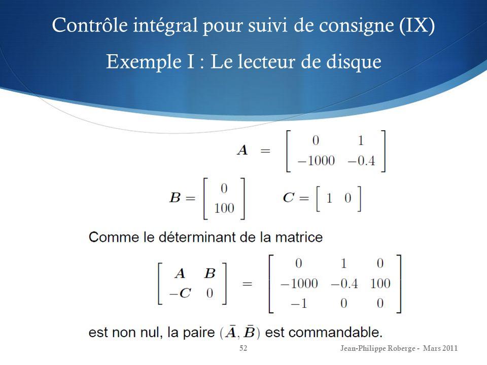 Contrôle intégral pour suivi de consigne (IX) Exemple I : Le lecteur de disque