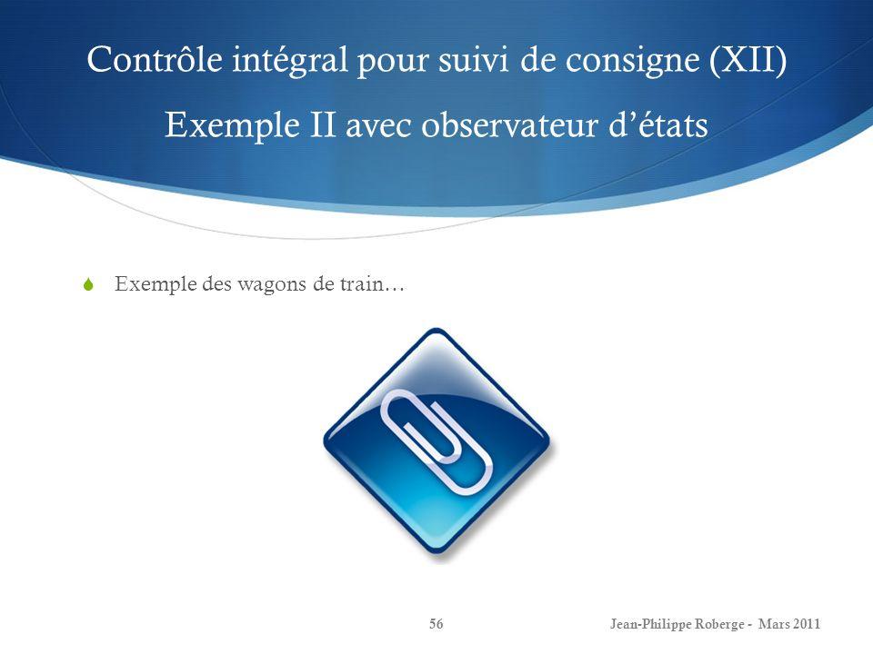 Contrôle intégral pour suivi de consigne (XII) Exemple II avec observateur d'états