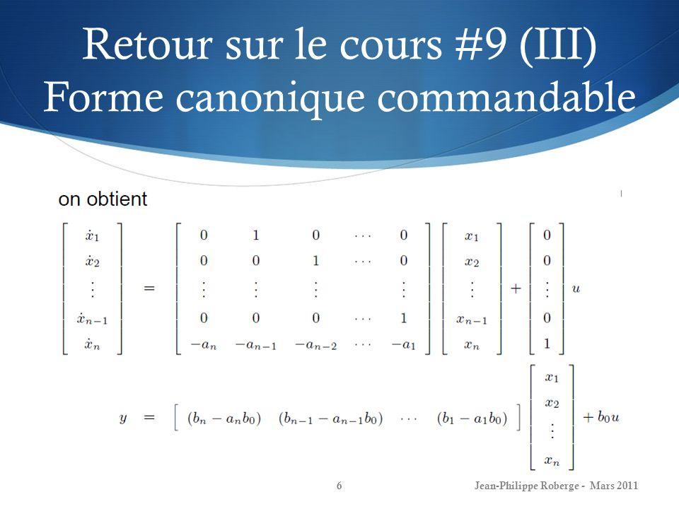 Retour sur le cours #9 (III) Forme canonique commandable