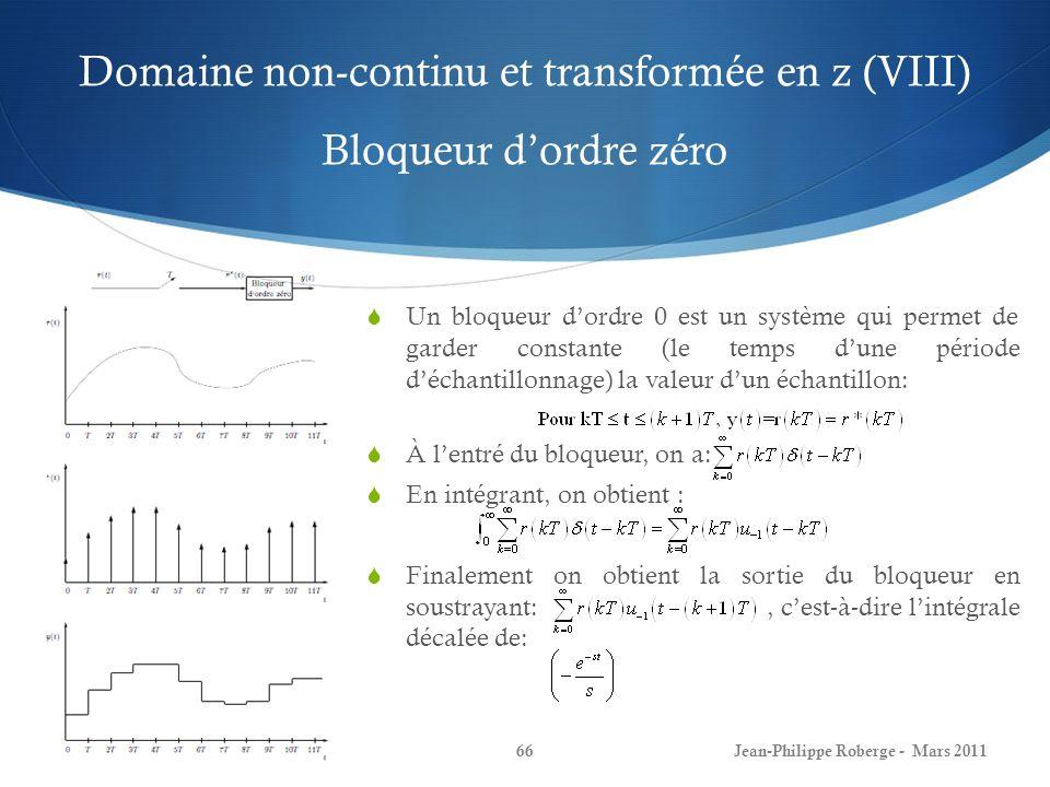Domaine non-continu et transformée en z (VIII) Bloqueur d'ordre zéro