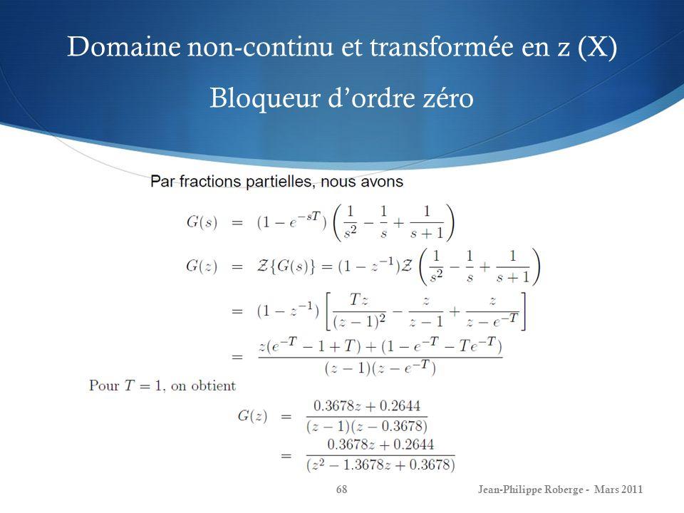Domaine non-continu et transformée en z (X) Bloqueur d'ordre zéro