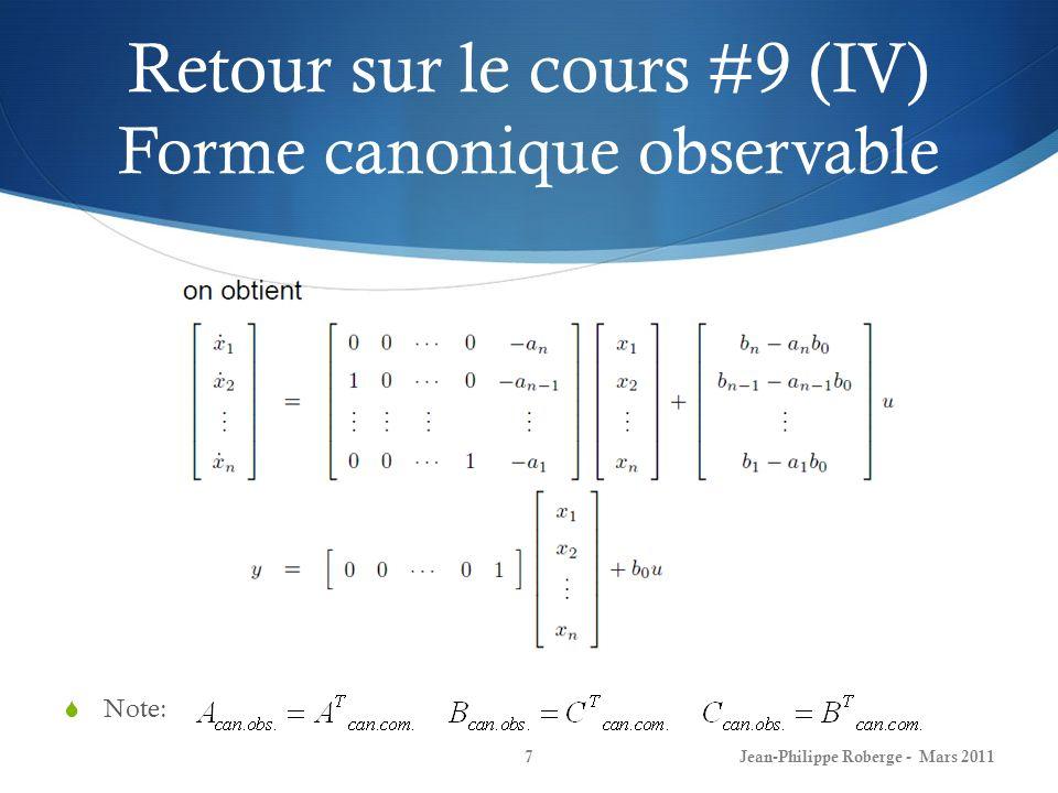 Retour sur le cours #9 (IV) Forme canonique observable