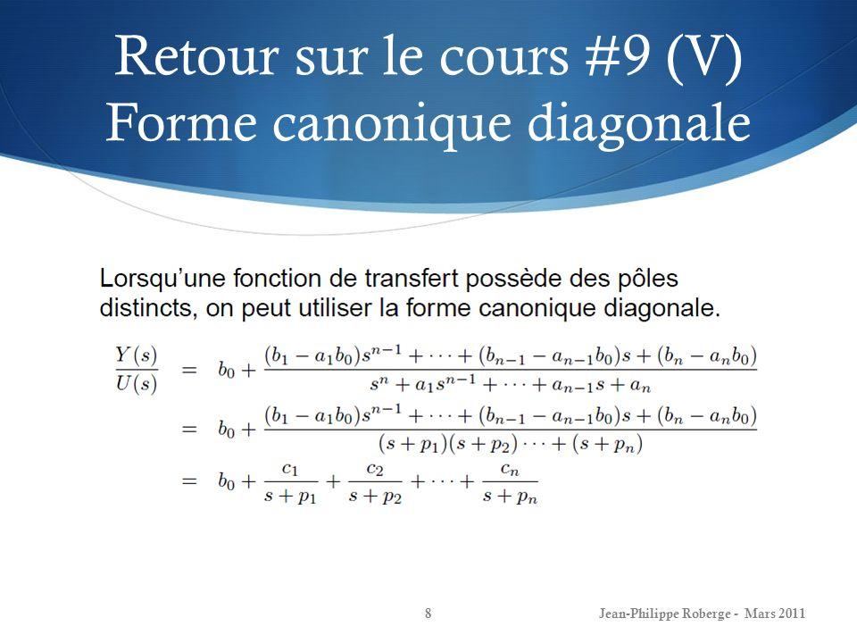 Retour sur le cours #9 (V) Forme canonique diagonale