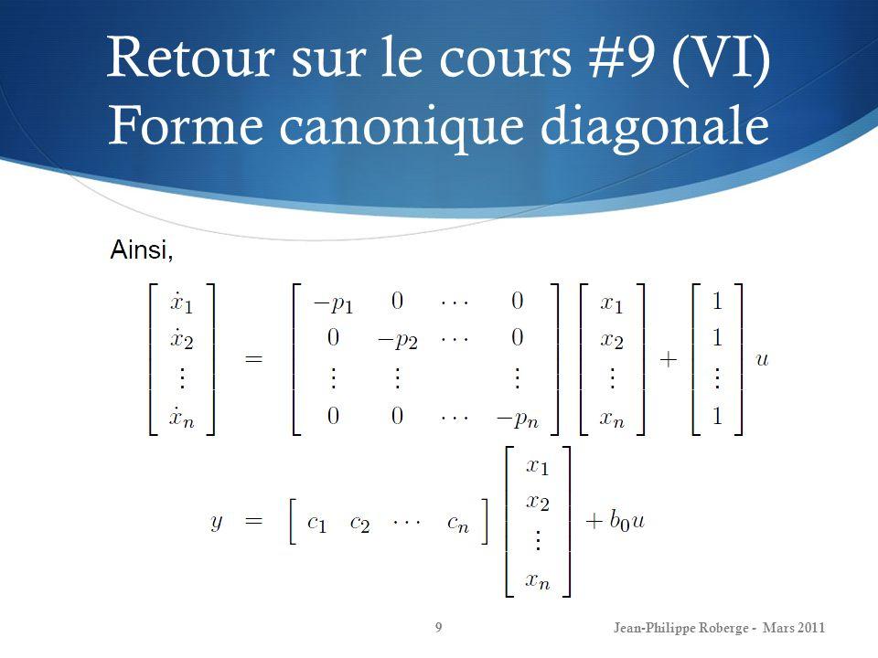 Retour sur le cours #9 (VI) Forme canonique diagonale