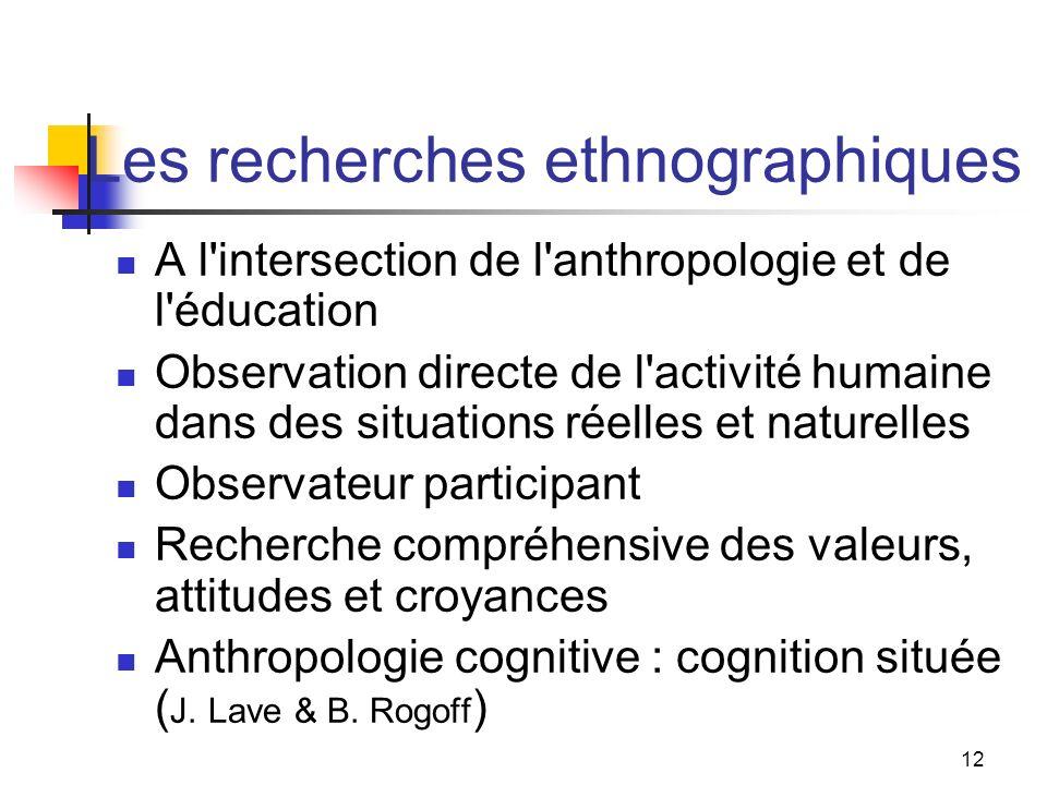Les recherches ethnographiques