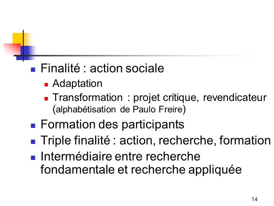 Finalité : action sociale