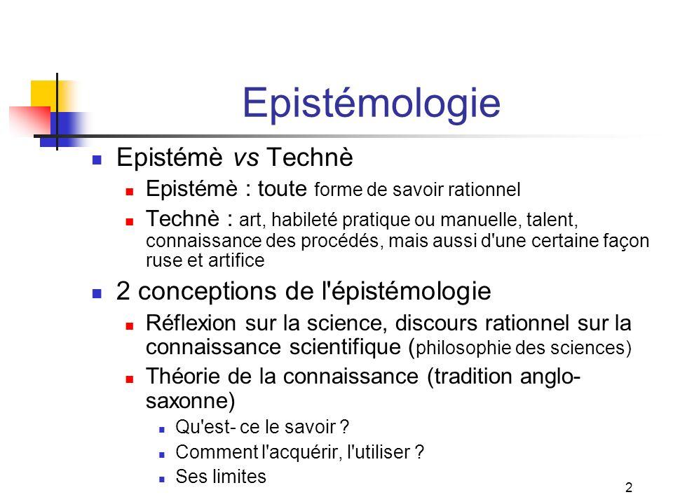 Epistémologie Epistémè vs Technè 2 conceptions de l épistémologie