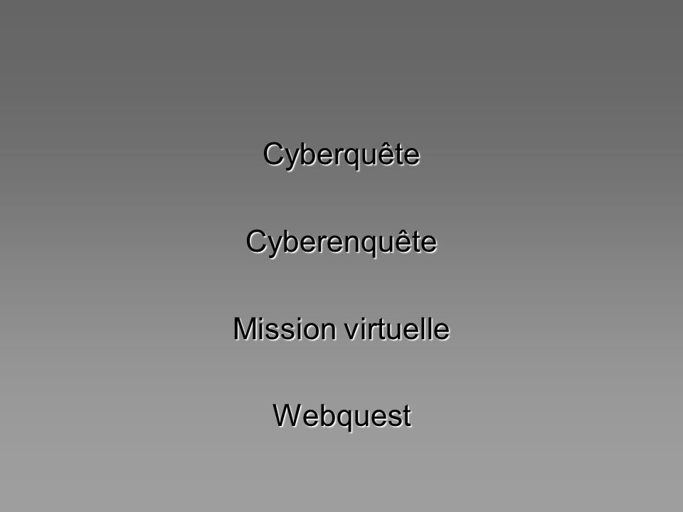 Cyberquête Cyberenquête Mission virtuelle Webquest