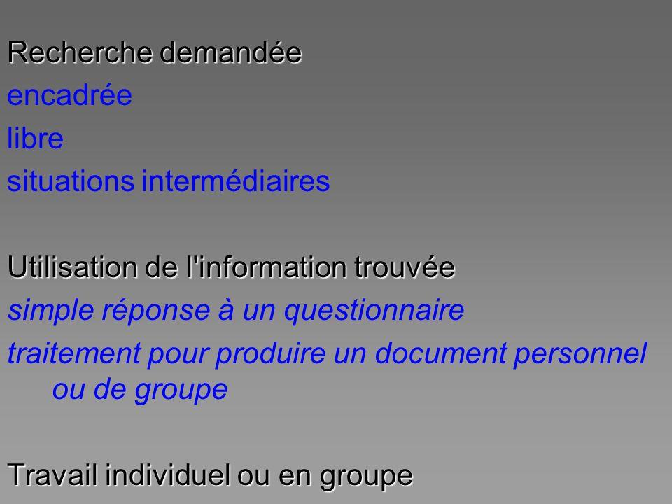 Recherche demandée encadrée. libre. situations intermédiaires. Utilisation de l information trouvée.