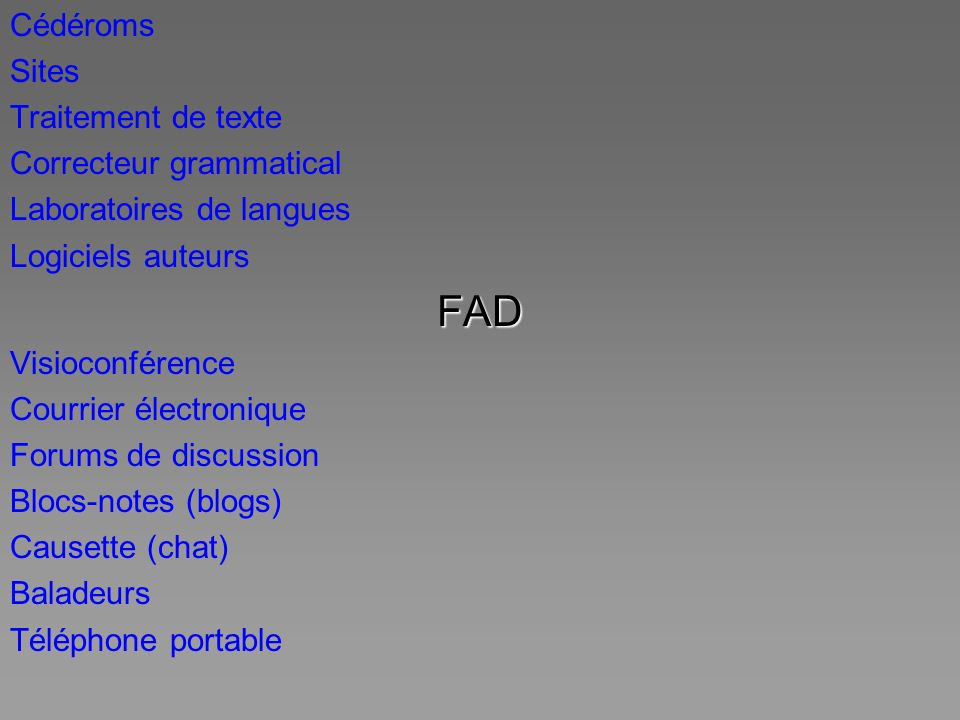 FAD Cédéroms Sites Traitement de texte Correcteur grammatical