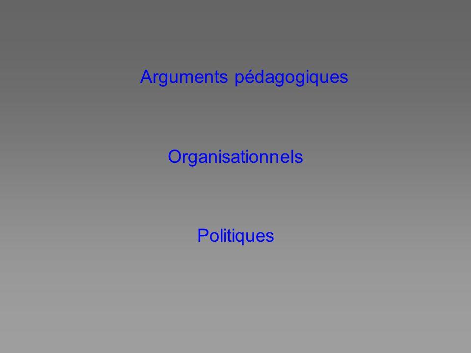Arguments pédagogiques Organisationnels Politiques
