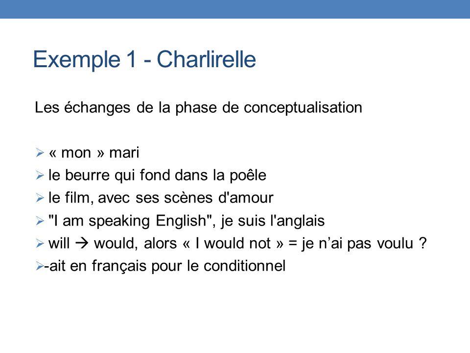 Exemple 1 - Charlirelle Les échanges de la phase de conceptualisation