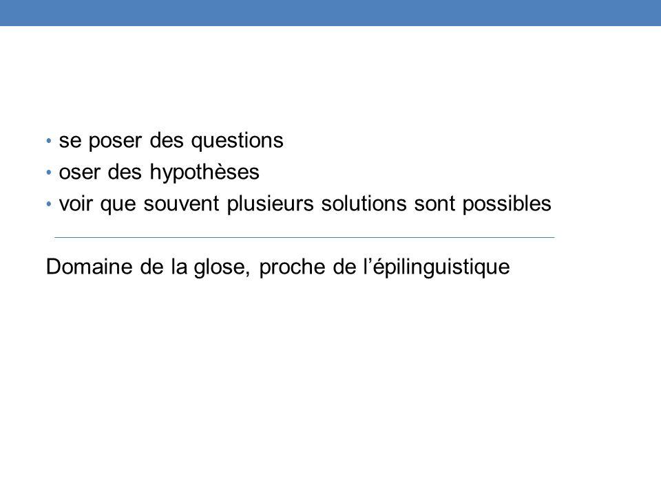 se poser des questions oser des hypothèses. voir que souvent plusieurs solutions sont possibles.