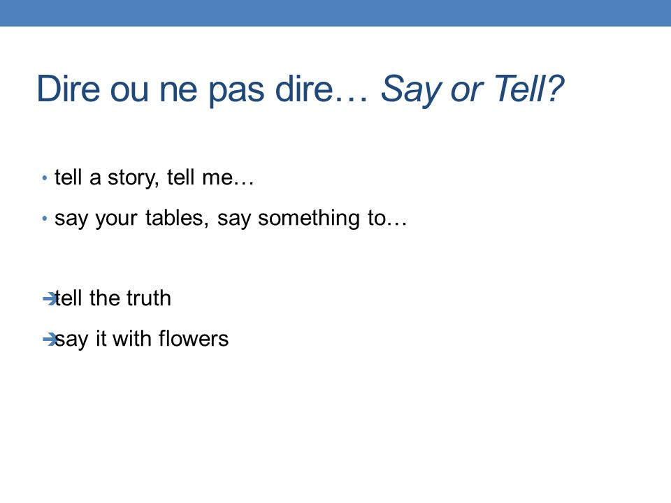 Dire ou ne pas dire… Say or Tell