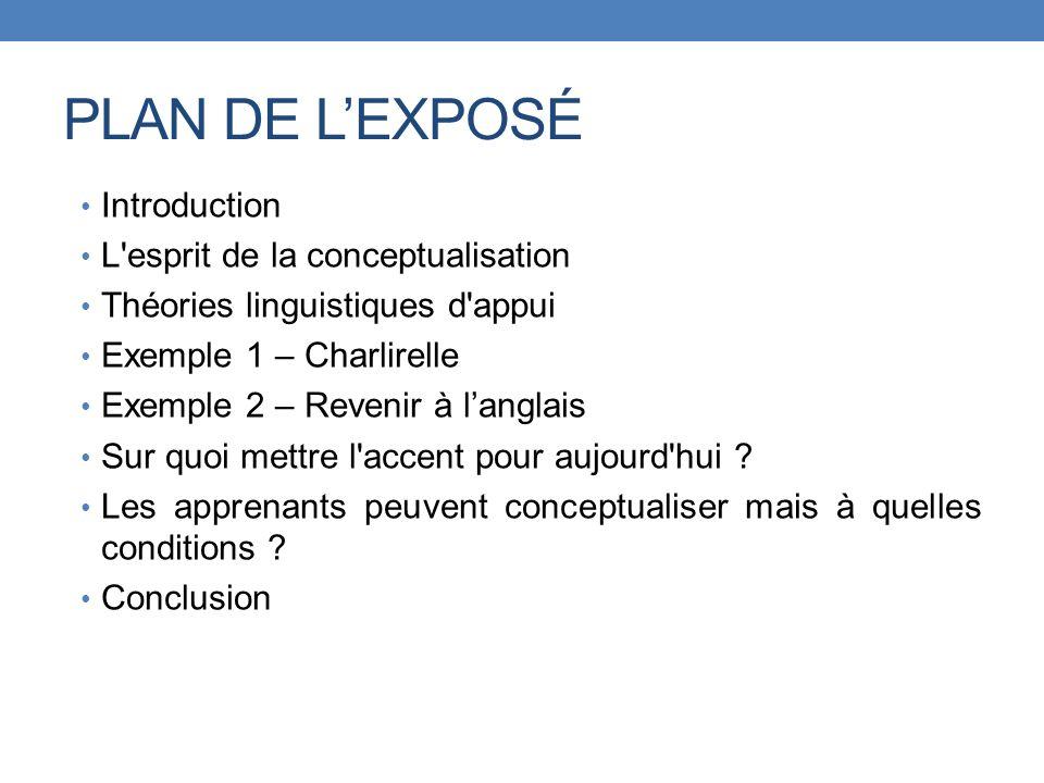 PLAN DE L'EXPOSÉ Introduction L esprit de la conceptualisation