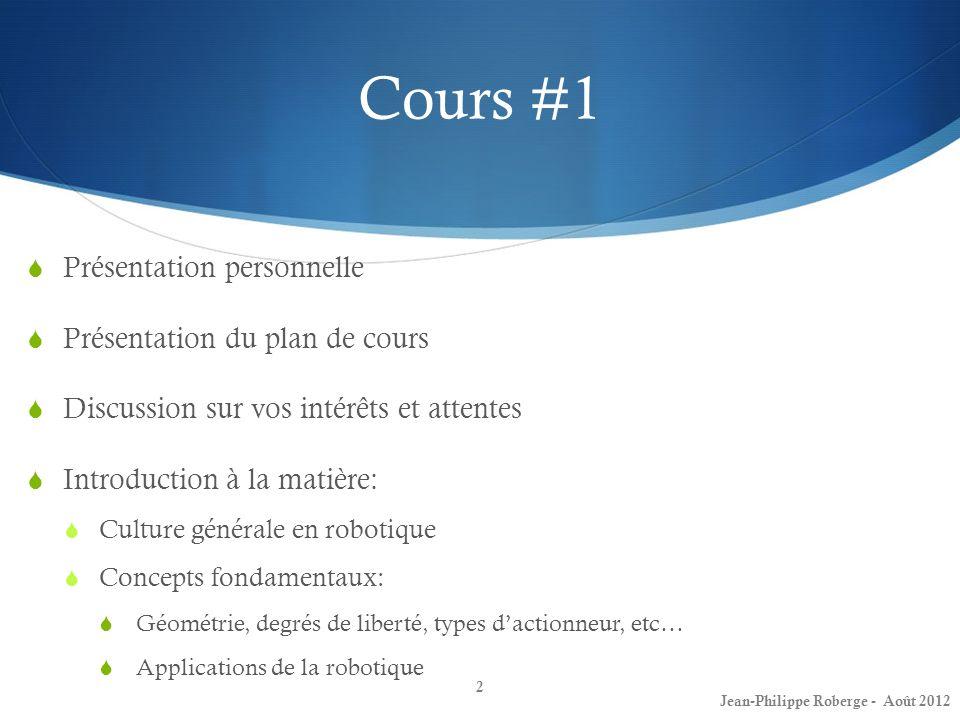 Cours #1 Présentation personnelle Présentation du plan de cours