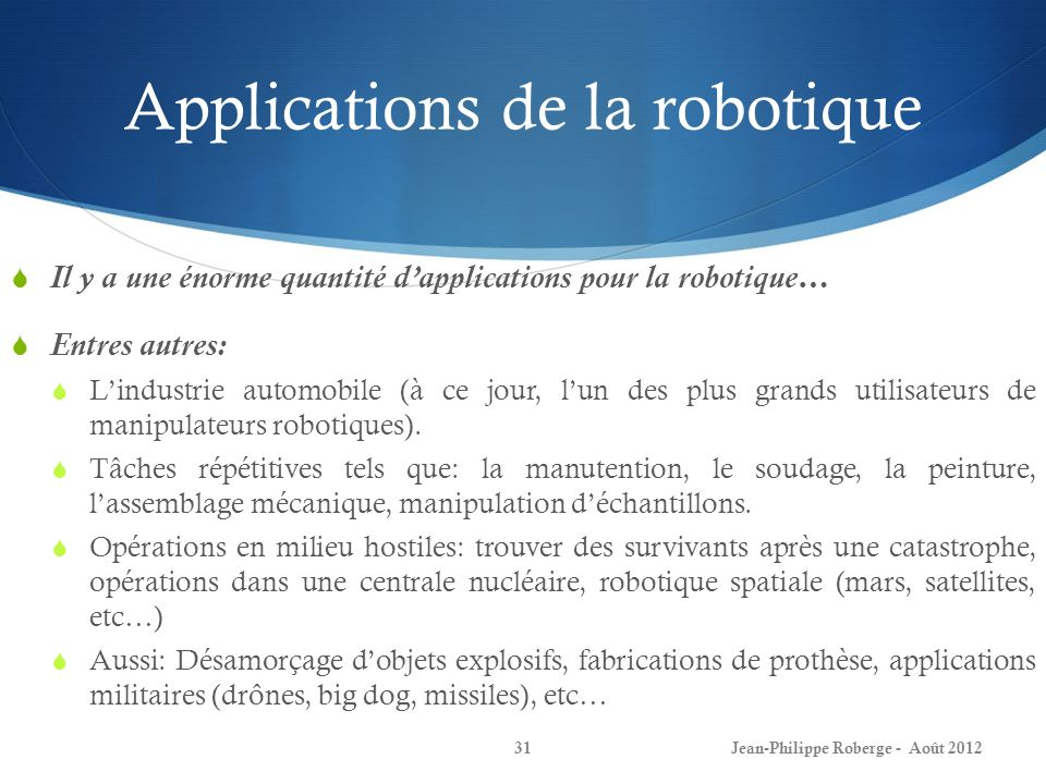 Applications de la robotique