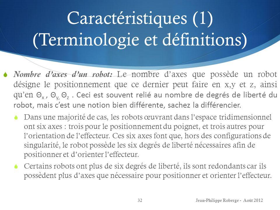 Caractéristiques (1) (Terminologie et définitions)