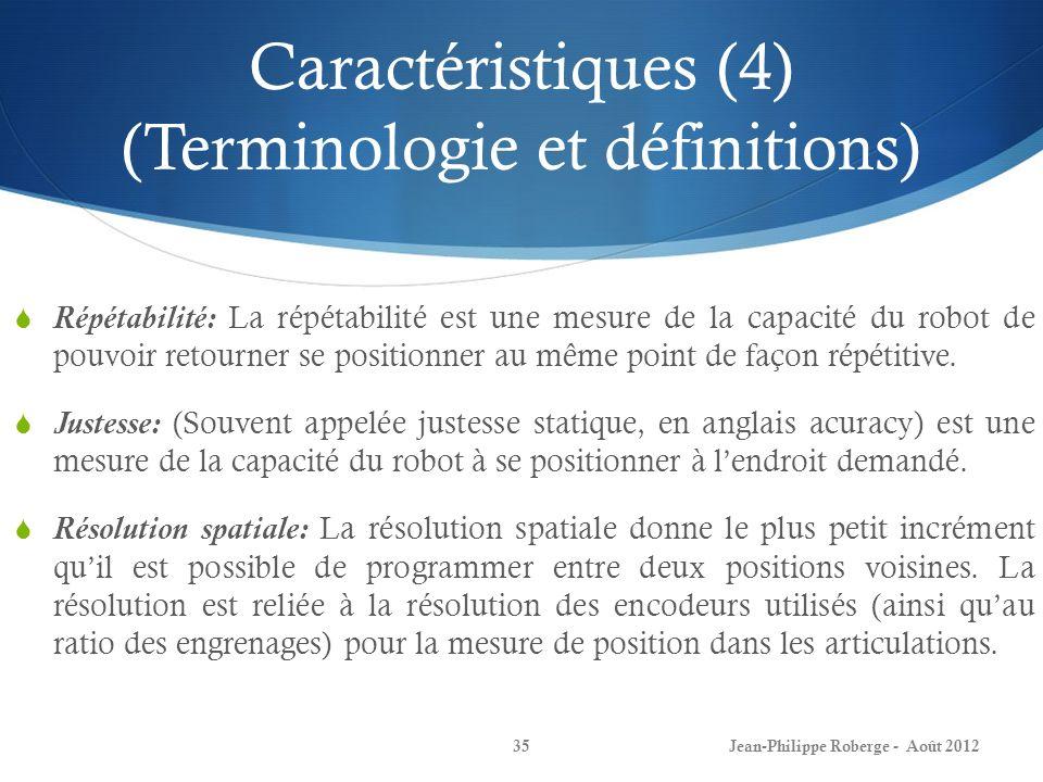 Caractéristiques (4) (Terminologie et définitions)