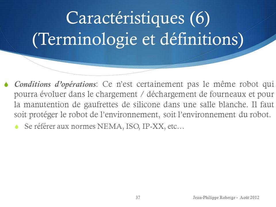 Caractéristiques (6) (Terminologie et définitions)