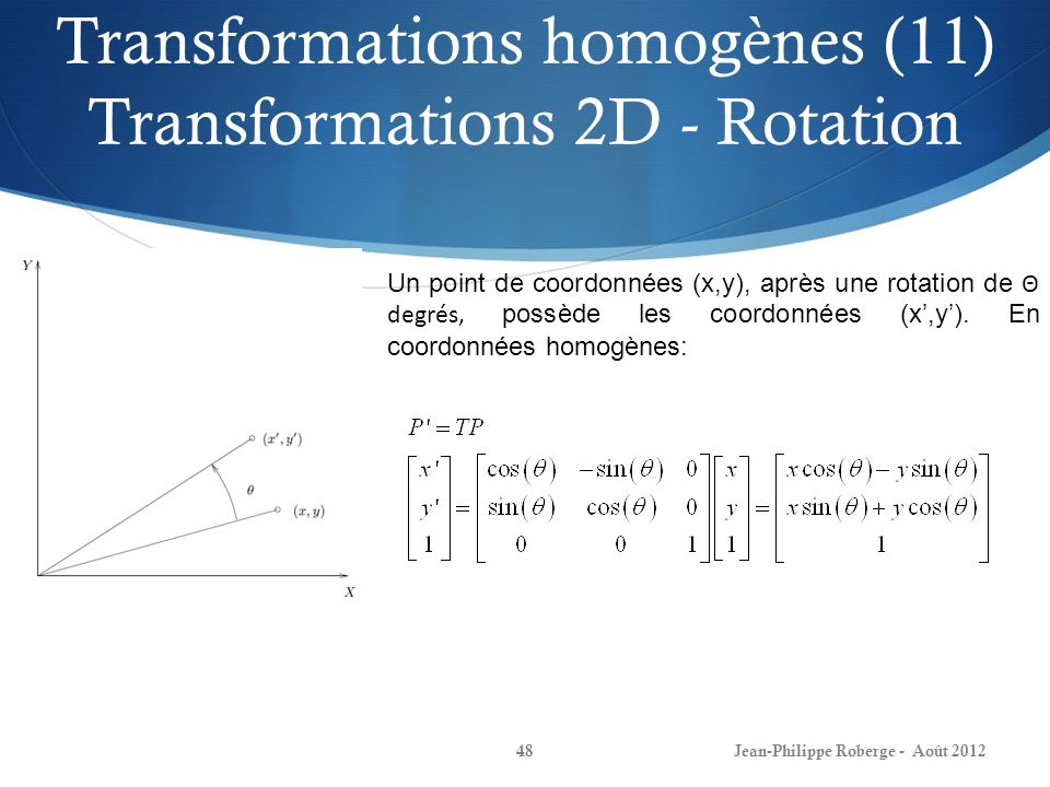 Transformations homogènes (11) Transformations 2D - Rotation