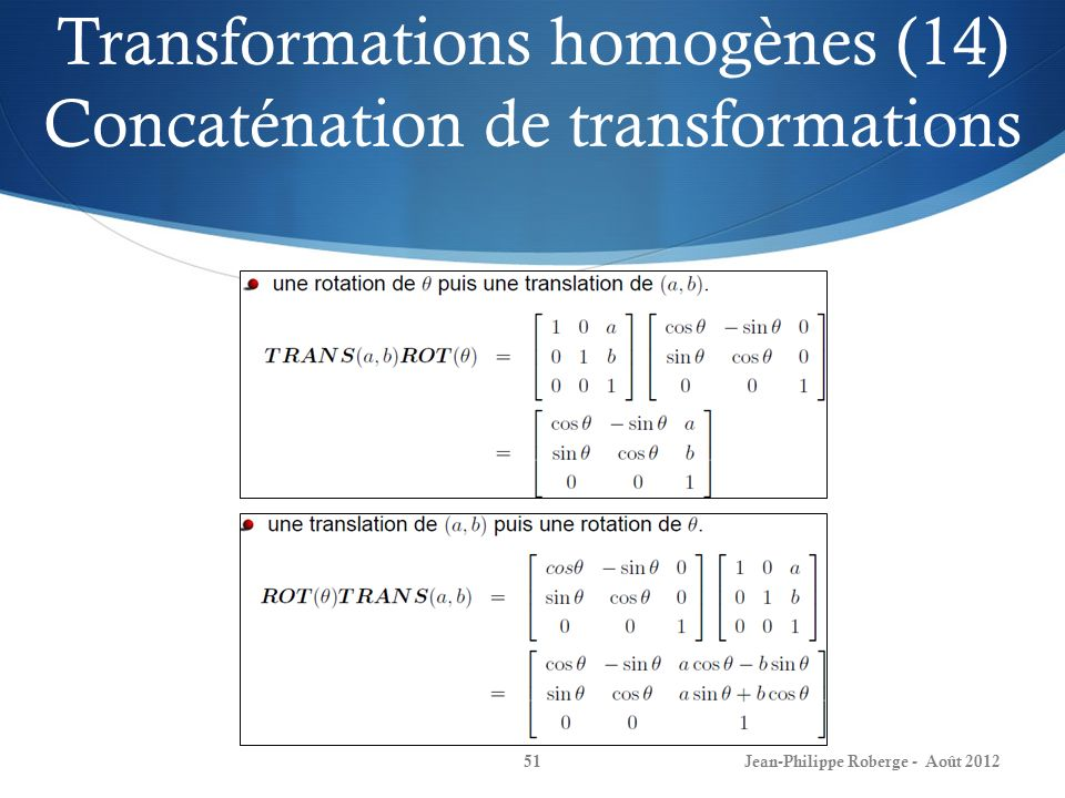 Transformations homogènes (14) Concaténation de transformations