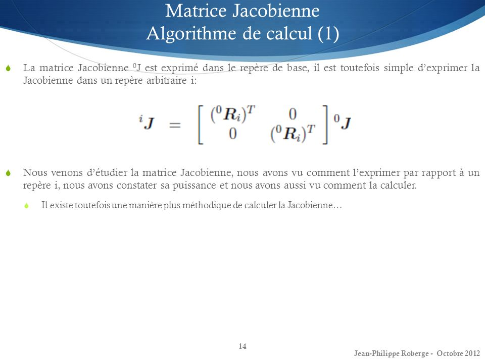 Matrice Jacobienne Algorithme de calcul (1)