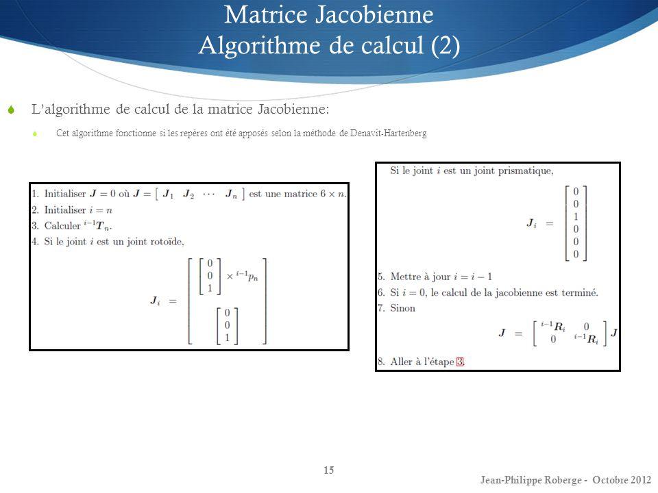 Matrice Jacobienne Algorithme de calcul (2)