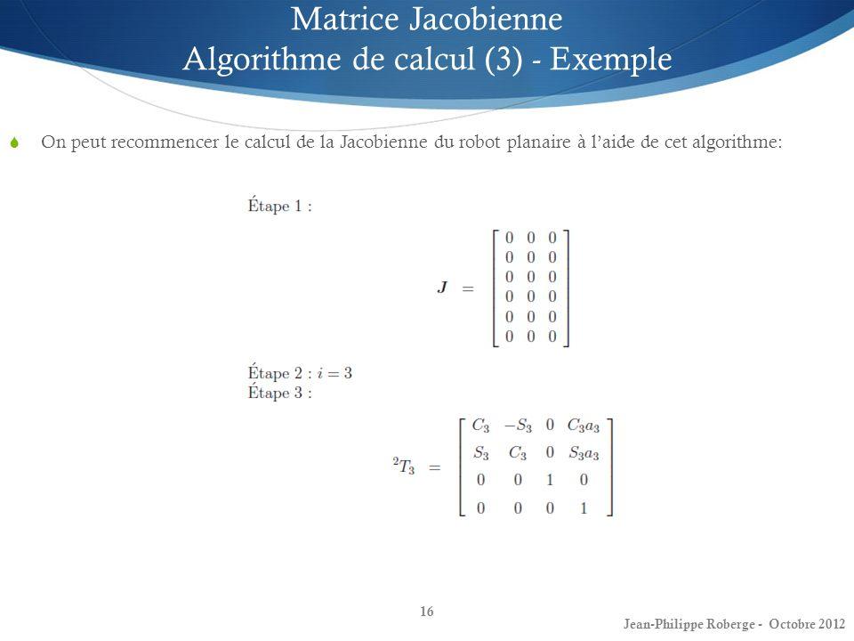 Matrice Jacobienne Algorithme de calcul (3) - Exemple