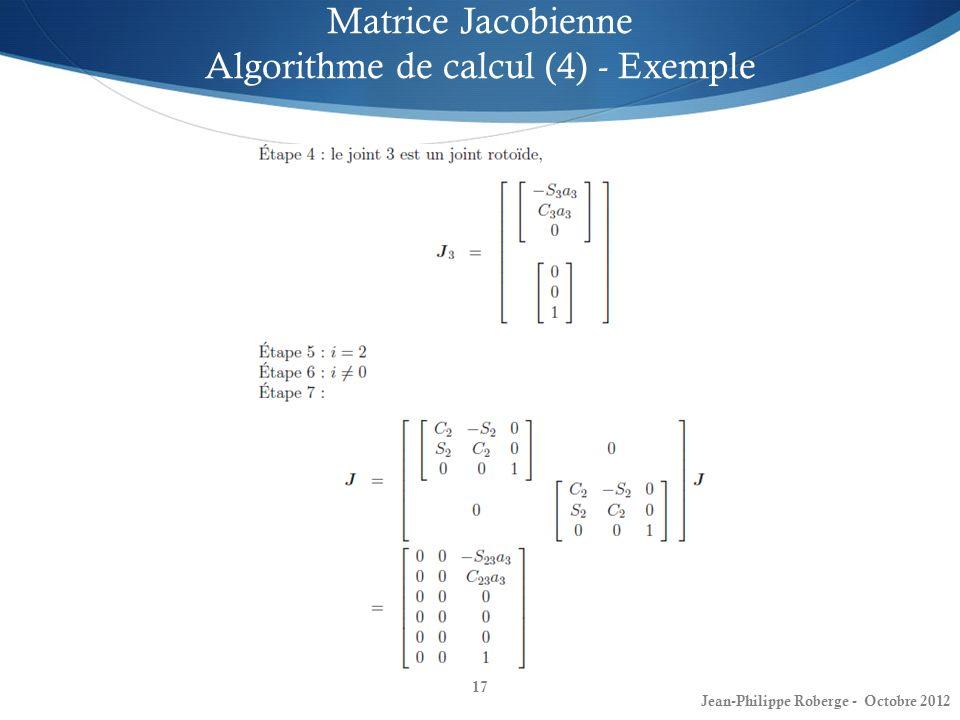 Matrice Jacobienne Algorithme de calcul (4) - Exemple