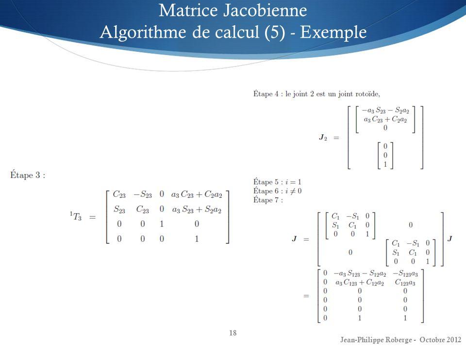 Matrice Jacobienne Algorithme de calcul (5) - Exemple