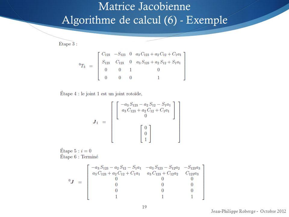 Matrice Jacobienne Algorithme de calcul (6) - Exemple